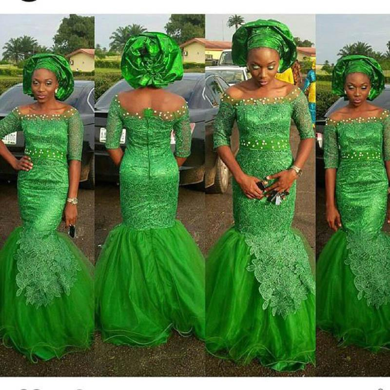 Vert Aso Ebi Style Dentelle Sirène Robes De Soirée 2019 Demi-Manche Manches Longues Hors Épaule Robe De Soirée De Bal Nigérian Styles