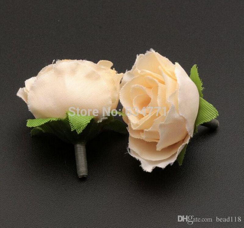 Hot ! Beige Color Tea Rose Flower Head Artificial Flowers Flower Arrangement Wedding Decorating 3cm