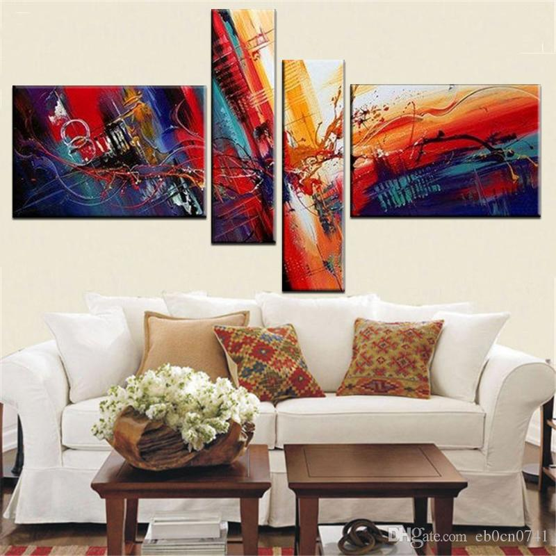 4 piece wall art painting 2018 multi piece combination panel wall art abstract paintings modern oil painting on canvas home decoration living room pictures handpainted from