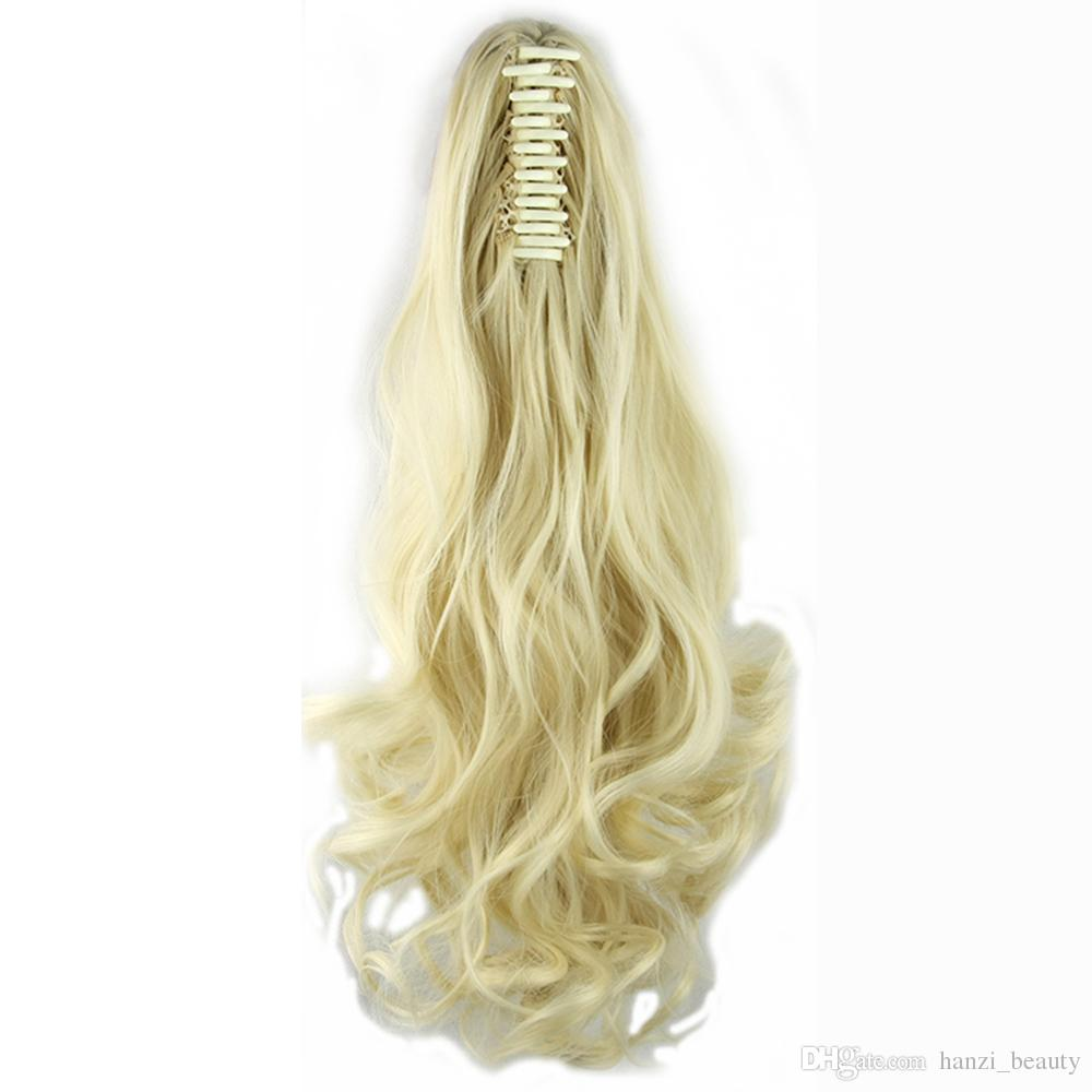 Long High Temperature Fiber Hair Pieces With Clip Claw Ponytail