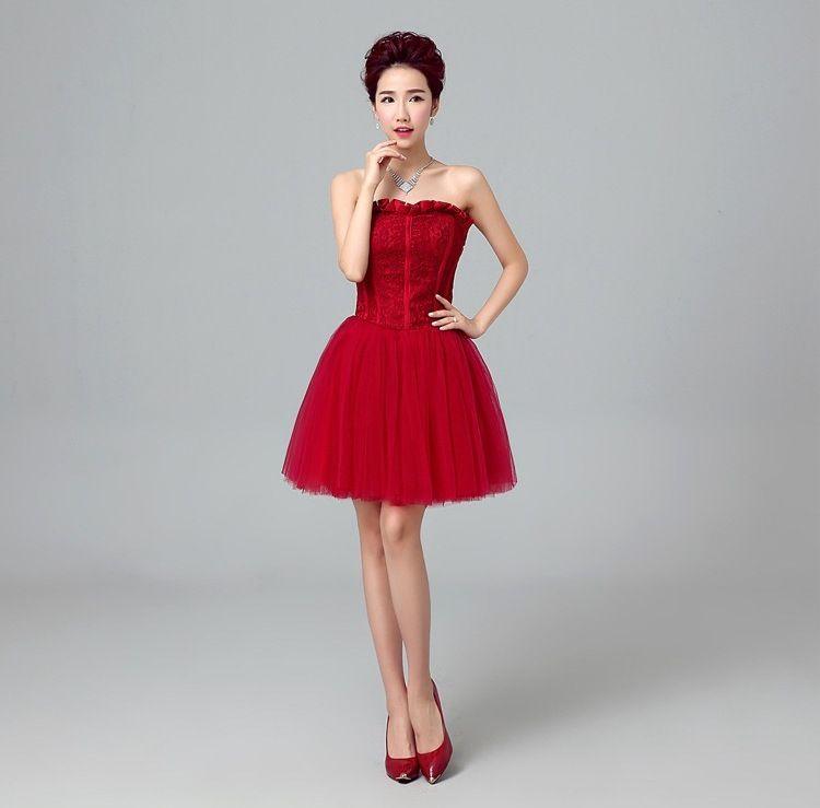 5d8146ae1907 Shanghai Story Vestidos rojos para mujer Vestido de novia de satén vestido  coctel vestido corto para vestidos de fiesta vestidos de cóctel
