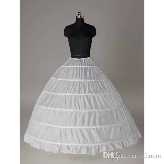 2018 Em estoque Bola Vestido Petticoat Barato Branco Preto Crinolina Underskirt Vestido De Noiva Deslizamento 6 Hoop Saia Crinolina Para Vestido Quinceanera