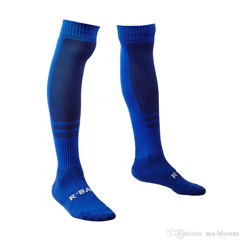 Excellent quality Professional Solid Color Football Hosiery High Elastic Knitted Cotton Sports Stocking Soccer Socks D339M