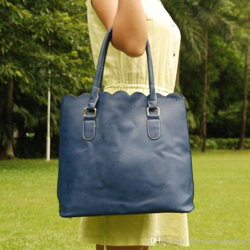 High fashion designer personalized Wholesale Blanks Fashion scalloped tote bag casual handbag with large capacity scalloped Purse DOM103172