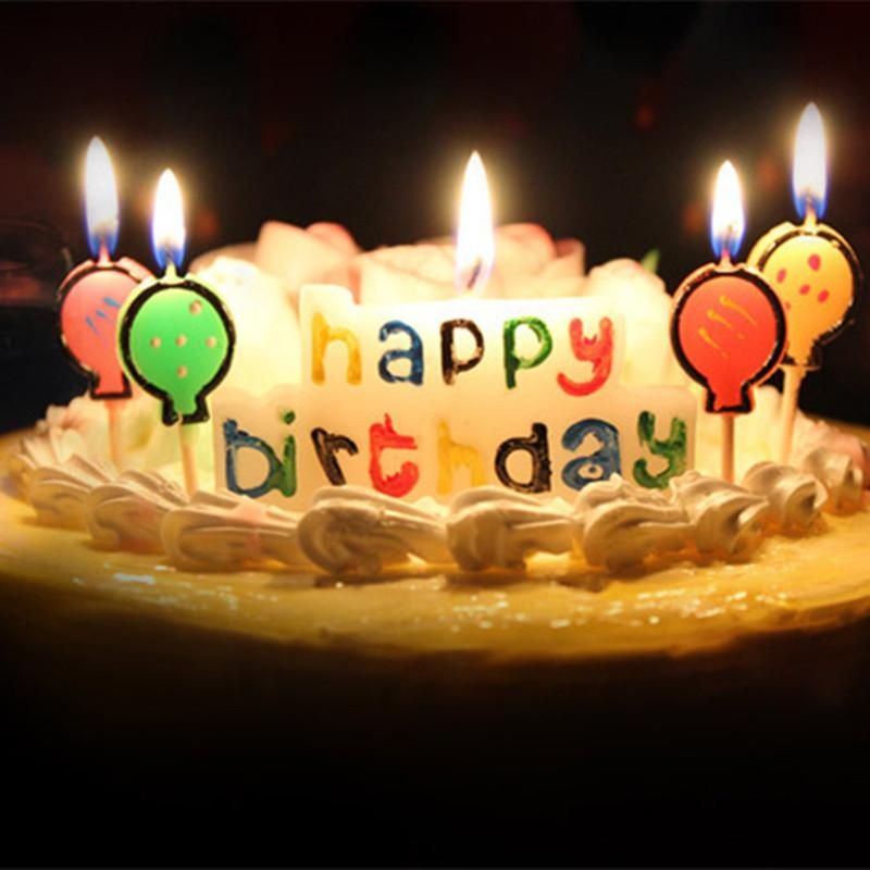Happy Birthday Cake Multicolor Candles 3 Patterns Woodstick