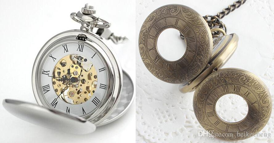 Wholesale Silver Polished Double Opened Flip Mechanical Pocket Watch with Cowboy Chain Christmas Gift Watch PW046