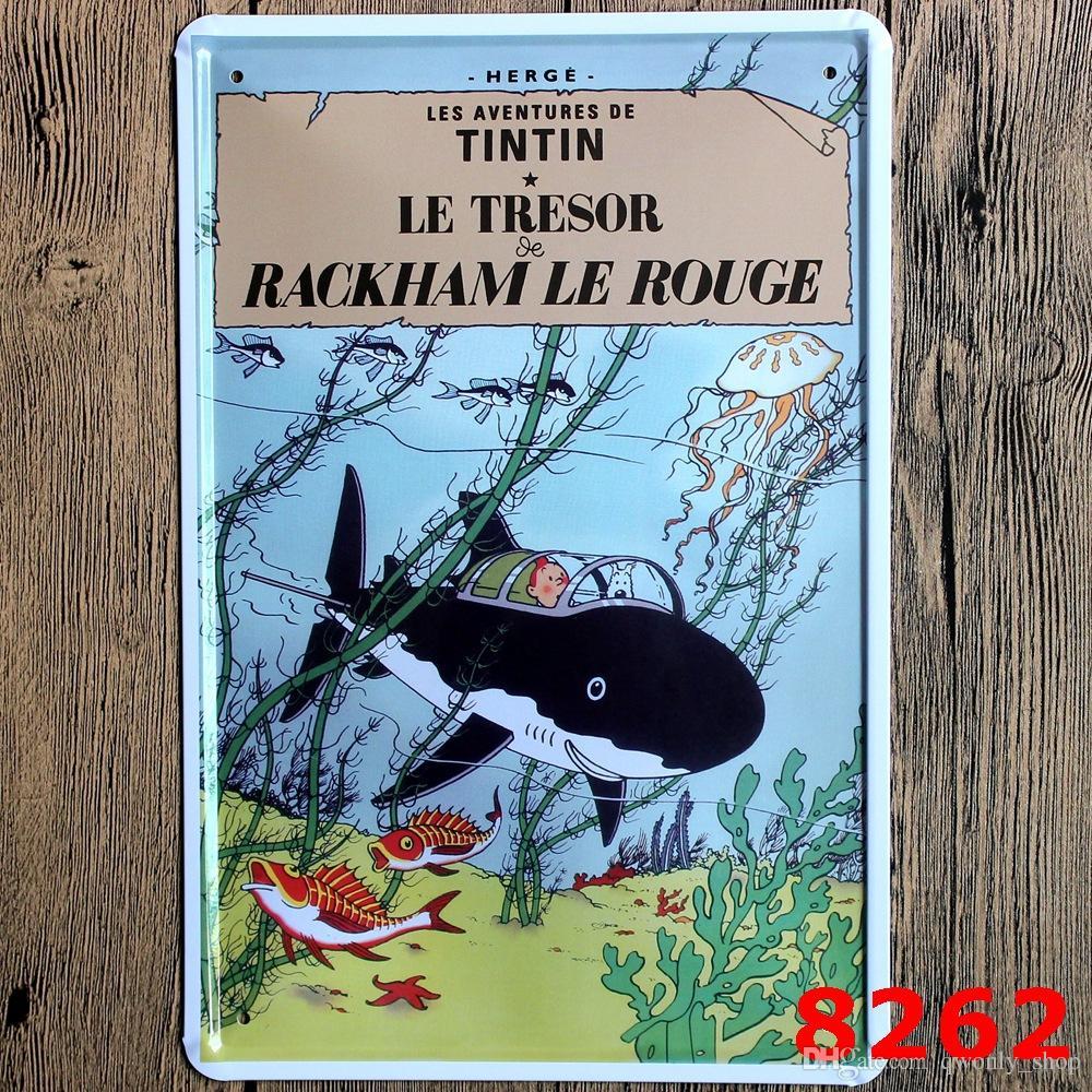 The Adventures of Tintin Vintage Poster Cartoon Retro Imagen Decorativa Cartel de chapa de Hierro Metal Mural Pintura Home Art Decoración de Pared