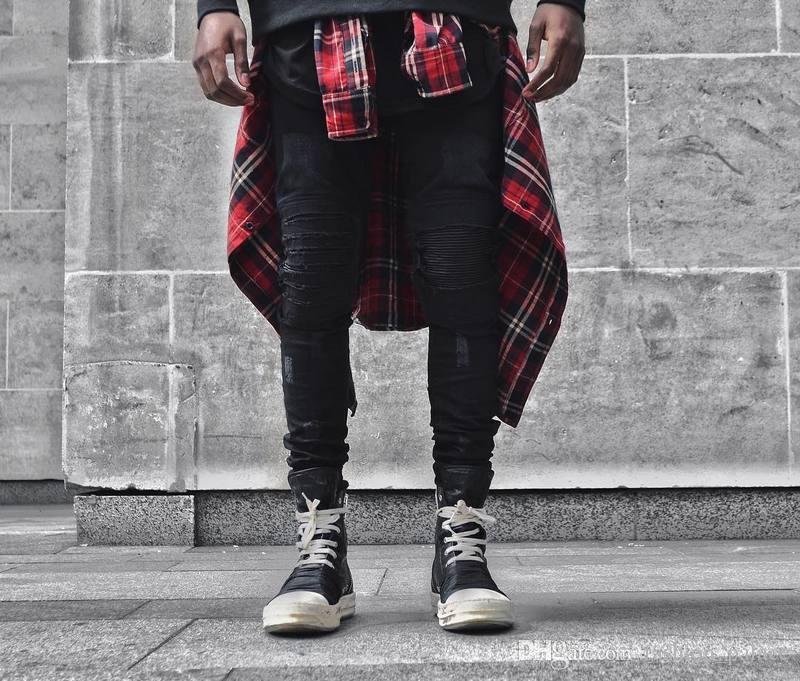 Camicia a quadri rossa uomo Hip-Hop Streetwear Camicia a maniche lunghe in cotone a maniche lunghe Camicia casual a quadri vintage Kanye West Capispalla OSG1008