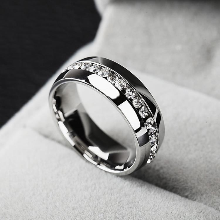 BC Jóias 2015 Clássico Anéis, Moda Jóias de Noivado Presente de Casamento Anéis Canal-Set Eternidade Aço Inoxidável 316L, Frete Grátis BC-0057