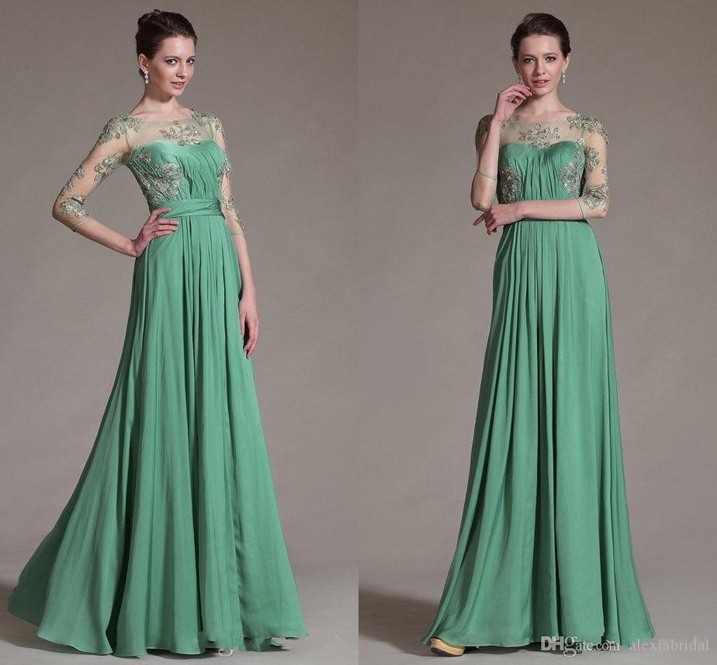 Modern green 34 long sleeve evening dress prom gowns 2016 jewel modern green 34 long sleeve evening dress prom gowns 2016 jewel sheer top a line chiffon mother of bride dresses formal wear cheap maternity dresses ombrellifo Image collections