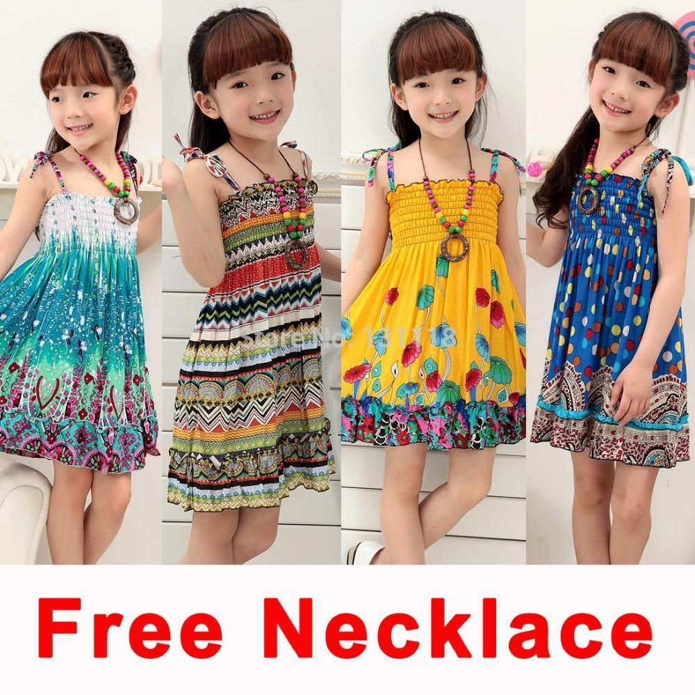 Children Fashion Girl In Tropical Turquoise Beach: 2019 2 8 Age 2016 New Kids Girls Dresses Fashion Knee