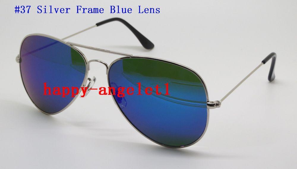 High Quality Brand Men Women Sunglasses Pilot 58MM 62MM Flash Mirror Glass Lens Eyeglasses With Box