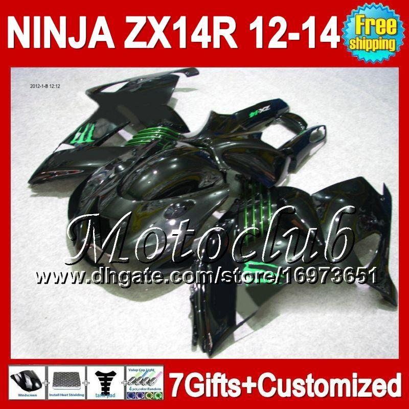 7gifts Para KAWASAKI NINJA ZX14R 12-13 NUEVO Negro ZX-14R 12 13 12 13 ZX14 R 25C36 ZX 14R NUEVO Verde negro 2012 2013 2012 2013 ZX 14 R Carenado
