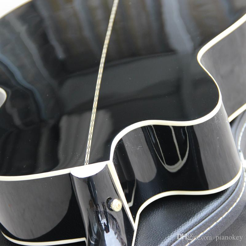 Hot selling black acoustic guitar, 43 inch jumbo cut away 6 string acoustic electric guitar