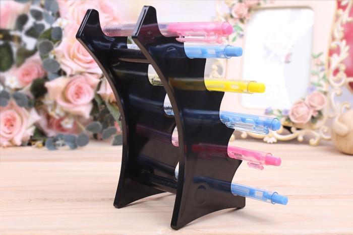 Banco di mostra della penna di plastica 6 cabine portapenne ecig Banco di mostra E-Liquid Holder Jewelry Display Stand Penna Rack di Stoccaggio Scaffale