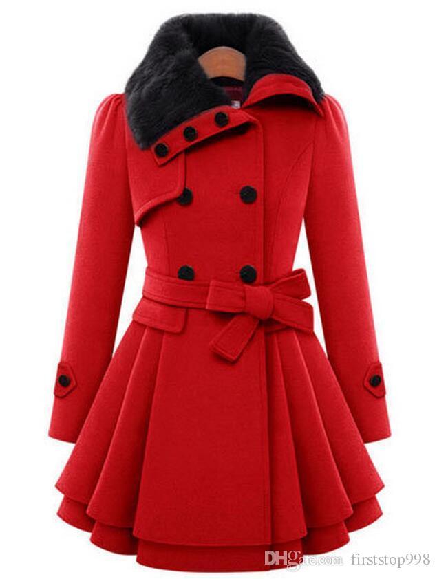 Hiver Femmes Long Manteau De Laine Robe Robe De Mode Slim Double-breasted Épaissir Pardessus Veste Coupe-Vent Dames De La laine Mélange Manteau Avec Ceinture