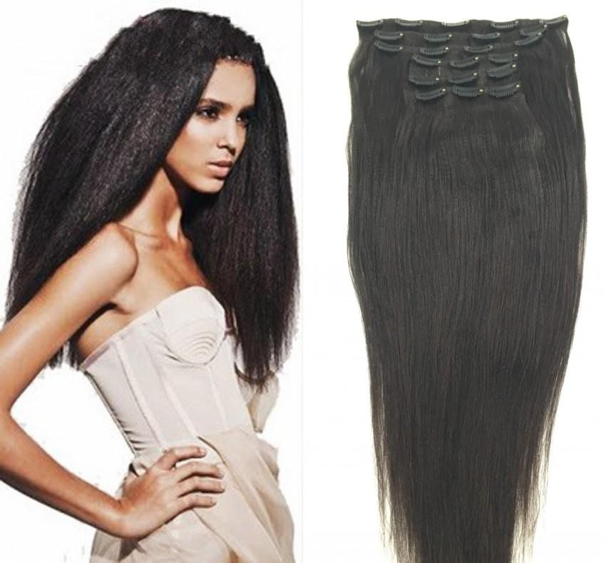 Cheap Brazilian Hair Weaves Corase Yaki Straight Clip In Remy Human