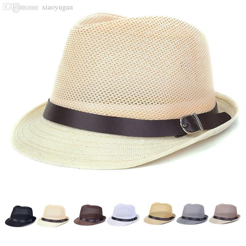 97e0fef4e40 2019 Wholesale Mesh Hollow Out Fedoras Hats Straw Hats For Women Men Panama  Fedora Summer Style Beach Sun Jazz Mens Hat Belt Buckle Caps From  Xiaoyugan