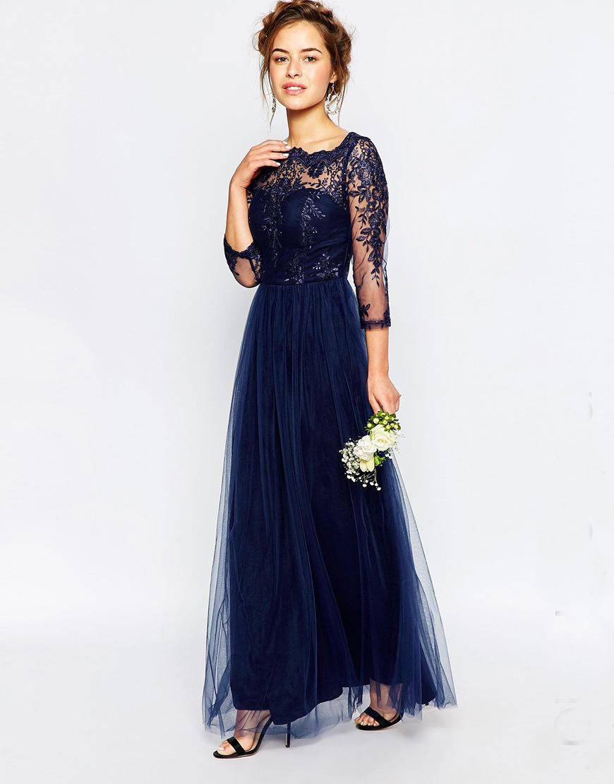 2016 new arrive navy blue 34 long sleeves bridesmaid dresses full see larger image ombrellifo Image collections