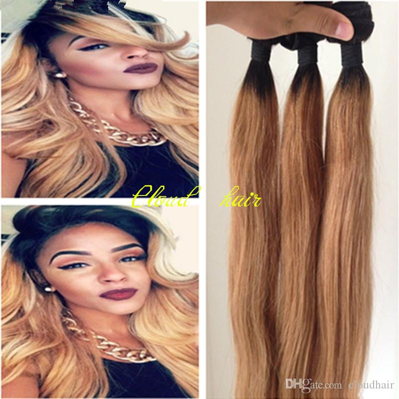 Cheap honey blonde ombre hair extensions 8a brazilian virgin cheap honey blonde ombre hair extensions 8a brazilian virgin straight human hair weave wefts 1b 27 dark roots ombre two tone hair bundles outre human hair pmusecretfo Gallery