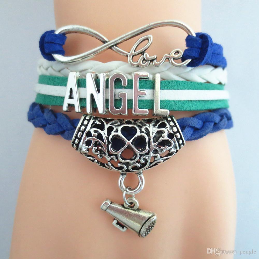 Hot Sale Jewelry Bracelets Charm Bracelets Infinity Love Angle Leather Bracelet Fashion Bracelets For Women Gift