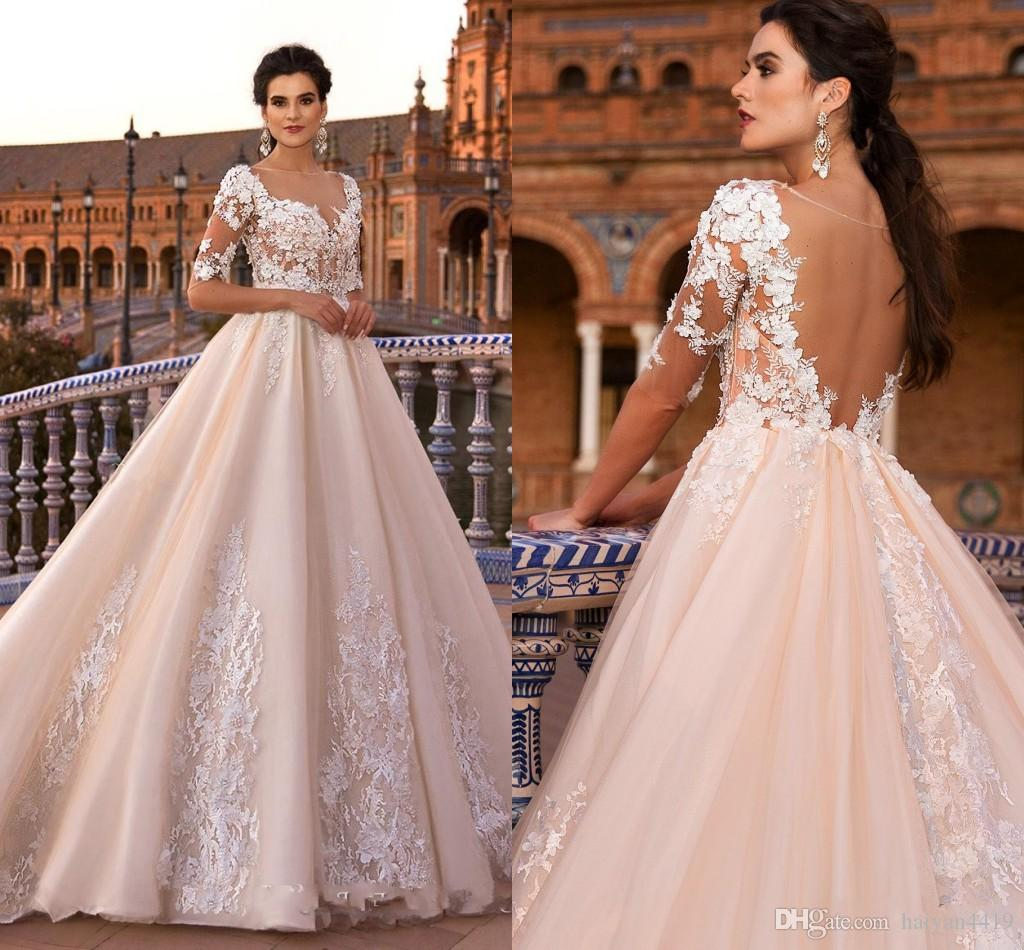2084fde6731 2017 Ball Gown Wedding Dresses Champagne Blush Pink Sweetheart Half Sleeves Low  Back Lace Applique Beads 3D Flowers Illusion Bridal Gowns Cheap Ball Gowns  ...