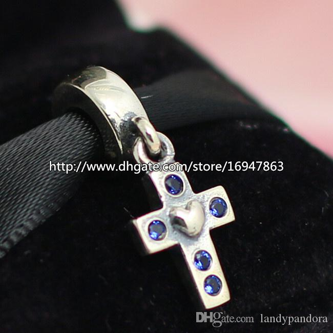 100% S925 Серебряный Крест Мотаться Шарм Бисер с Синим Cz Подходит Европейский Пандора Ювелирные Браслеты Ожерелья Кулон