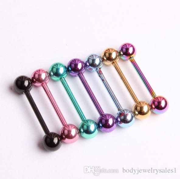 Piercing Tongue Colors Piercing Body Smycken Anodiserad Titanium Tongue Ringar 100st / Gratis frakt