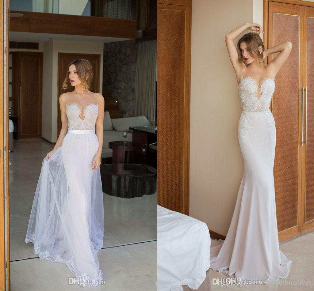 2016 julie vino unique lace wedding dresses with detachable skirt 2016 julie vino unique lace wedding dresses with detachable skirt sweetheart mermaid style backless bridal gown 2015 modest plus size dress wedding dress ombrellifo Image collections