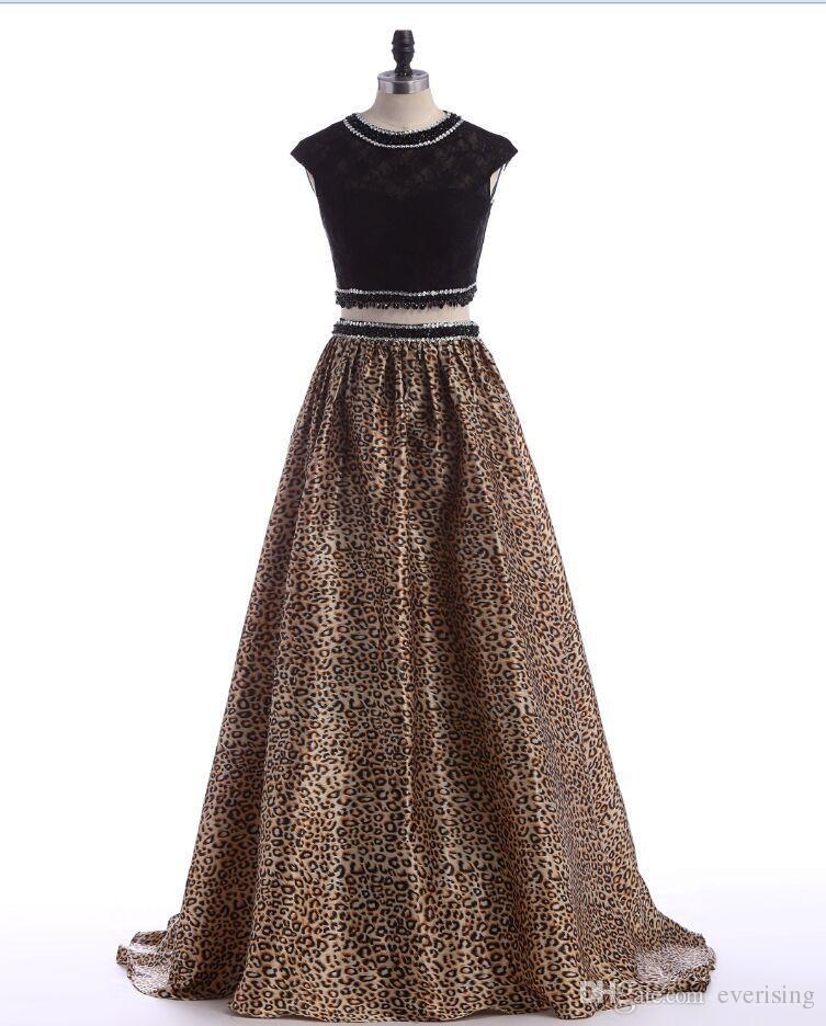 41b3f871de Evening Gowns 2016 Party Dresses Formal Gowns Leopard Print Two Pieces A  Line Beading Black Pageant Gowns Custom Made Long Vestidos De Noche Evening  Dresses ...