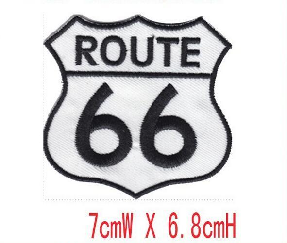 nice ROUTE 66 embroidery patch iron on border use in cloth or bag free shipping embroidery factory in china welcome custom