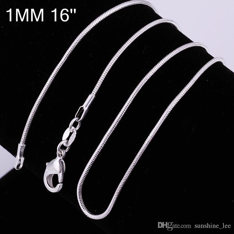 High Quality 925 Sterling Silver Chains Necklace 1mm Snake Chain Necklace 16inch/18inch/20inch/22inch/24inch mixed