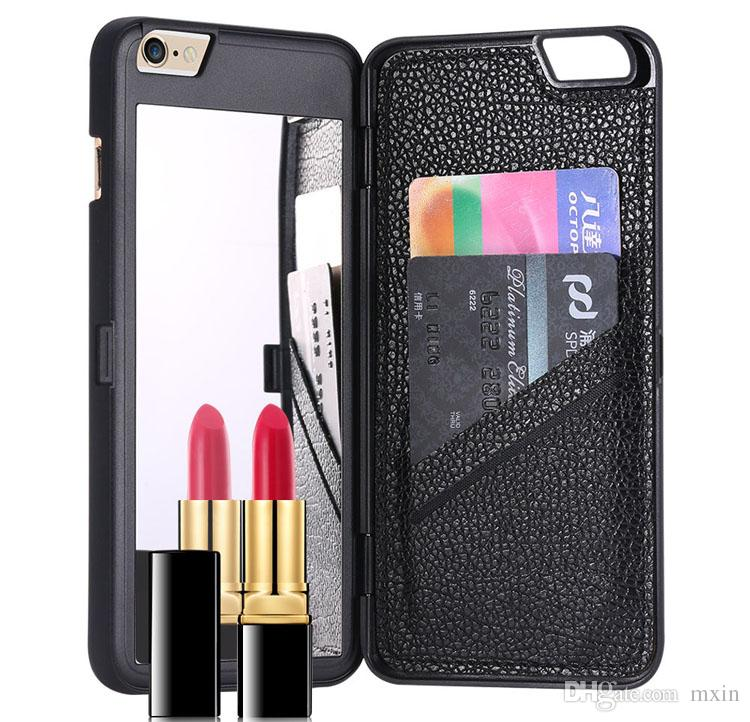Fashion Make UP Mirror Wallet Flip Multi Function Credit Card Slot Hard Plastic PC Back Cover Case For iPhone 5 5S SE 6 6S Plus 6Plus