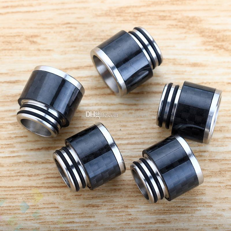 Fibra di carbonio SS Drip Tip TFV8 vasta portava Drip Tips 810 Bocchini TFV8 grande bambino TFV12 serbatoio atomizzatori DHL