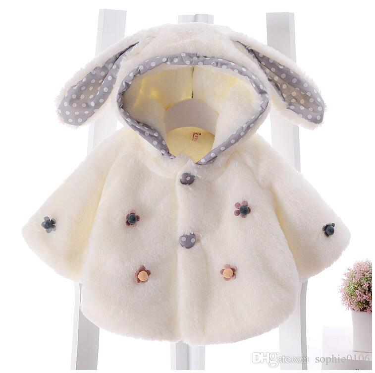 Bebek Kız Kış Dış Giyim Kız Moda Noel Panço Manto Şapkası ile Şapka Çocuklar Tavşan Üstleri Ceket Pelerin Şal Noel Giyim Hediye XCR 001