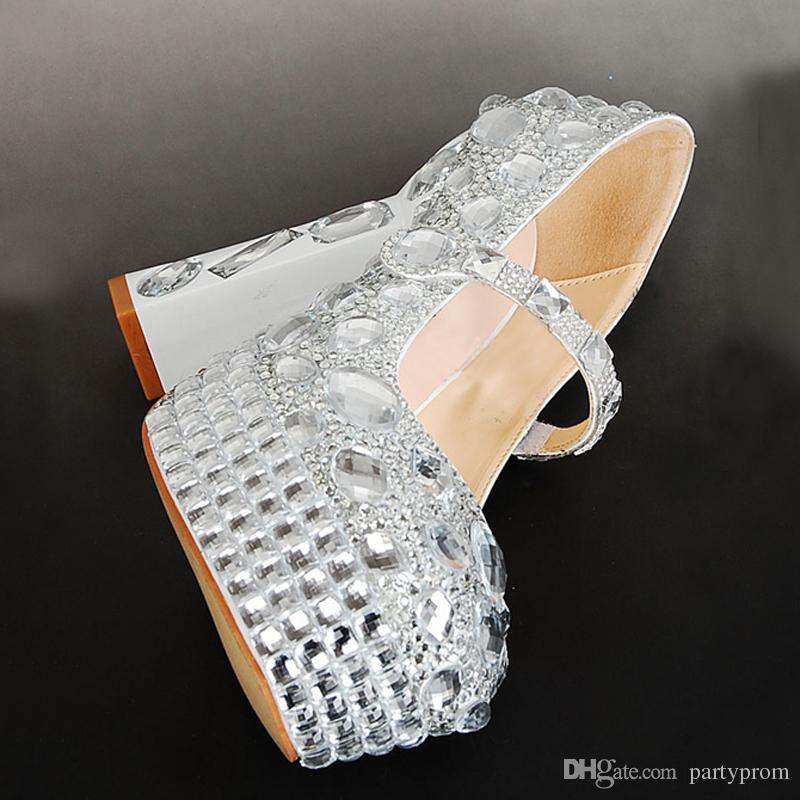 Hot Selling Women High Heels Round Toe Silver Weddings Shoes Women Pumps Platform Sandals Size Eur 34-41