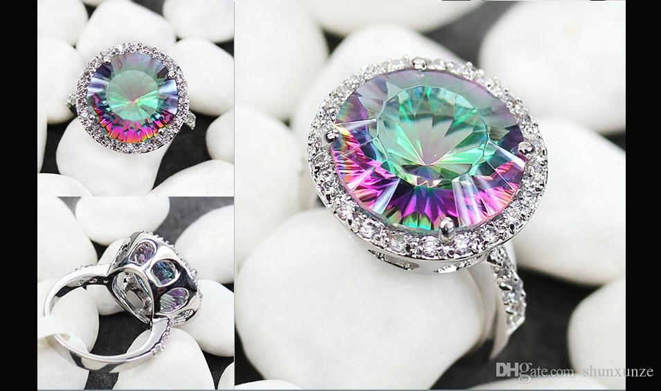 SHUNXUNZE Engagement anéis Jóias e Acessórios para Noble Mulheres do dia do casamento presentes do Natal as vendas do arco-íris Cubic tamanho Zirconia R735 6 7 8 9