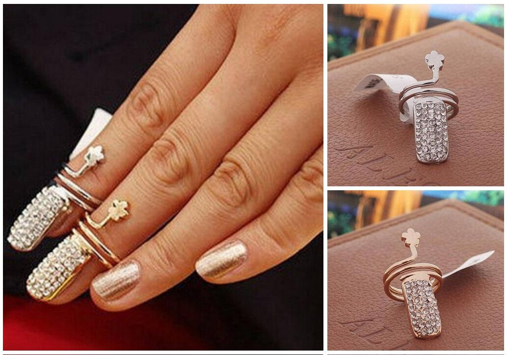 2015 Diamond Studded Clubs Clover Nail Rings. 1.3cm Girl Ring ...