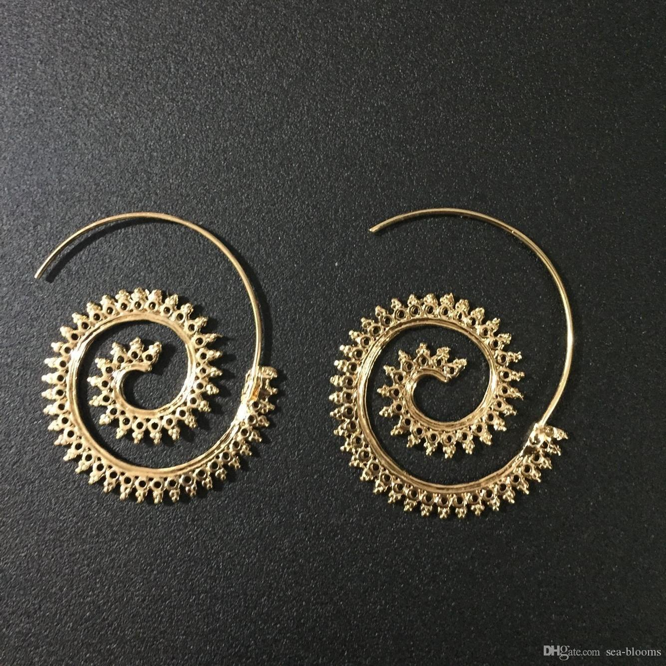 d37820030 2019 Vintage Boho Style Women Circles Round Spiral Tribal Hoop Earrings  Retro Jewelry Fashion Hollow Swirl Hoop Indian Bohemian Earrings D93S From  Sea ...