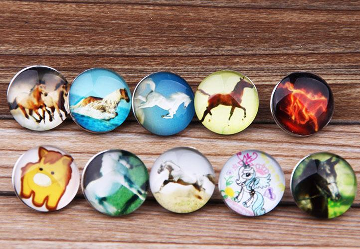 JACK88 Wholesale DIY Mix Styles 30pcs Horse 18mm Snaps Button Fit Ginger Snap Charm Bracelet Jewelry N013
