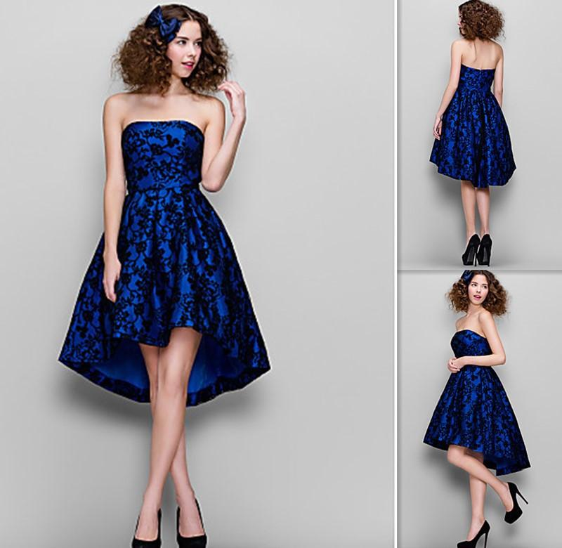 Modern Cocktail Dresses 2015 Inside Royal Blue Satin Outside Black