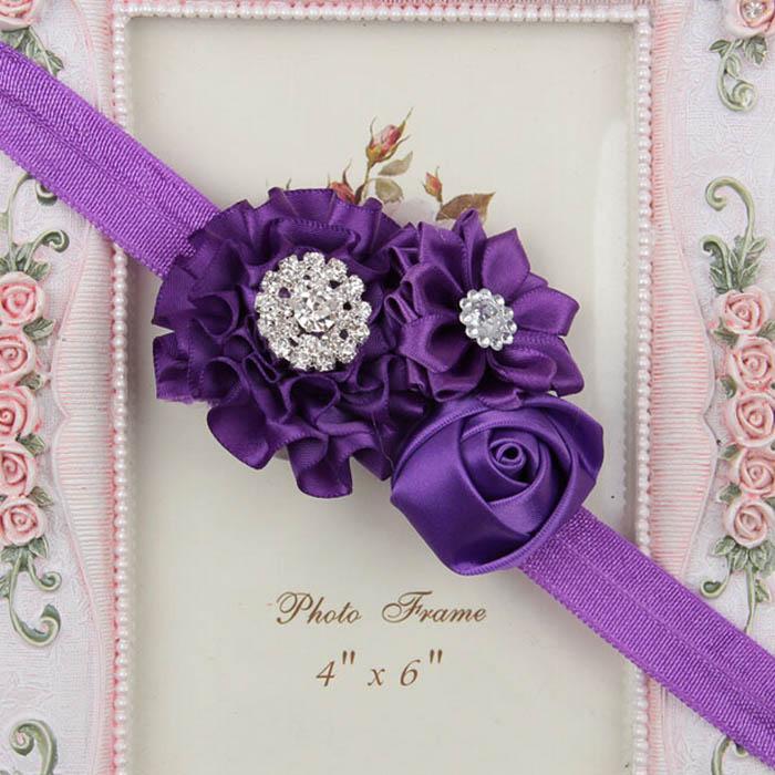 Fasce bimba Fiore rosa Fiocchi strass Accessori capelli bambini Fascia la festa di nozze