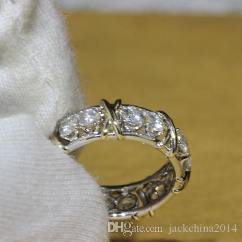Victoria Wieck marca de jóias 10kt ouro branco cheio Topaz Simulado de diamante de casamento da princesa faixa de prata Anéis para as Mulheres Tamanho 5/6/7/8/9/10