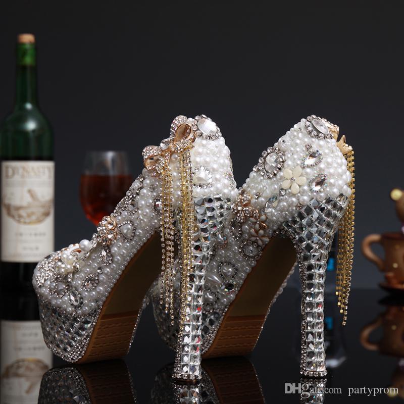 Lujo perla de cristal de tacón alto nupcial zapatos de vestir de boda Lady White Pearl Rhinestone Party Dress Shoes Thin Heels Shoes