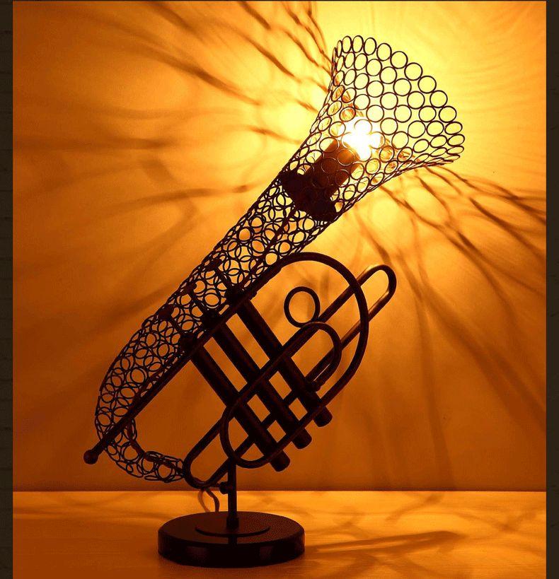 Retro Creative Saxophone Table Lights Vintage Loft Bar Hotel Art Table  Lights Bookstore Table Lamp Lighting Fixture Desk Lights Art Loft Table  Light Modern ...