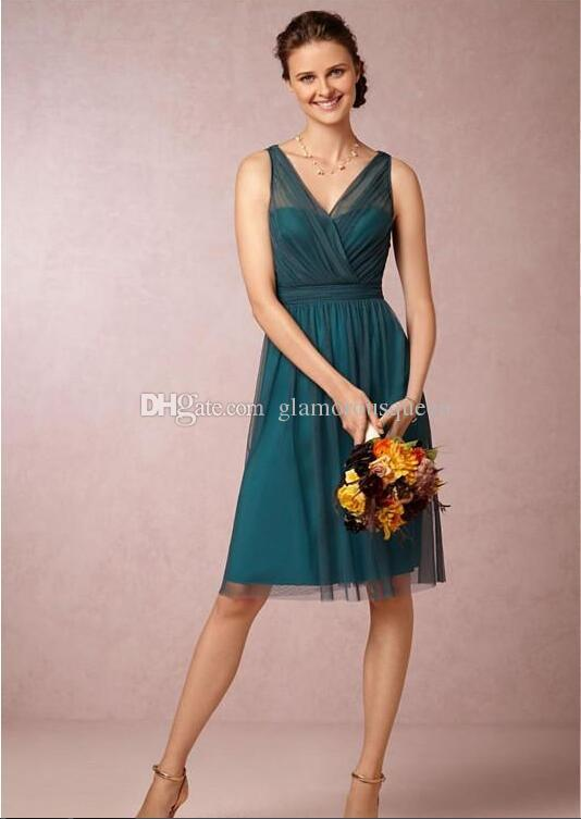 New Arrival A Line V neck Knee Length Teal Color Bridesmaid Dresses 2016 Short Vintage Tulle Satin Bow Back Cocktail Party Gowns