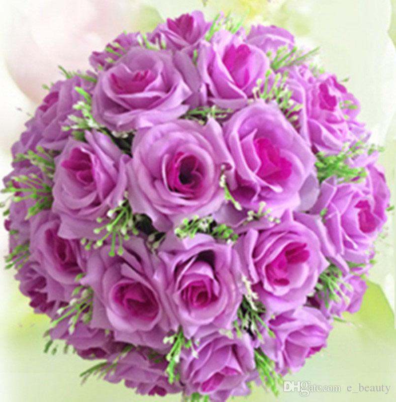 2018 15cm Decorative Flowers Silk Flowers Heads Kissing Balls Rose ...