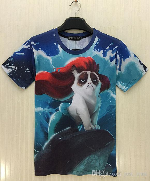 Men's short-sleeved T-shirt 3D Kitten beauty stars printing short sleeve t shirts for men