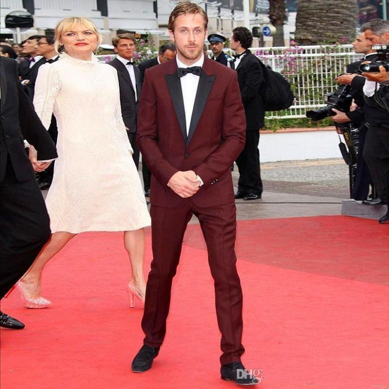 New Fashion Maroon Tuxedos Dark Burgundy Tuxedo Wedding Suits For ...