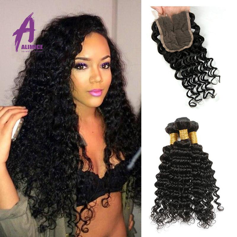 Brazilian Deep Wave Closure 10 20inch Non Remy Hair Weaves 44 Free